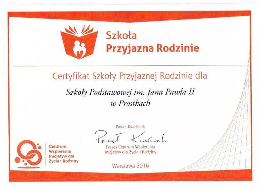 certyfikat Szkola Przyjazna Rodzinie