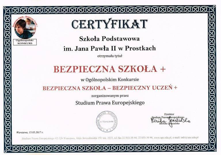 certyfikat bezpieczna szkoła